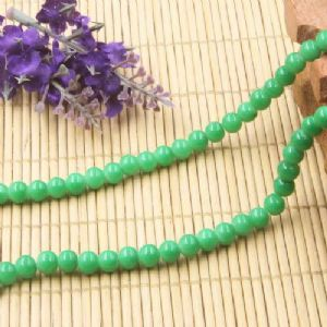 Beads, Glass, Green , Round shape, Diameter 6mm, 20 Beads, [BHB0176]